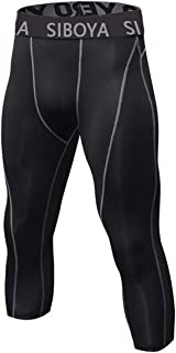 Men's 3/4 Compression Tights Cool Dry Sports Running Pants (Packs of 1 or 3)