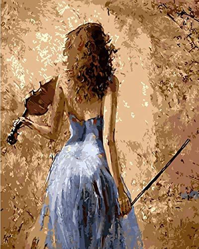 Lonfenner verf op nummersvoor volwassenen DIY viool meisje terug Canvas digitale kleurplaten olieverven door cijfers Acryl Wall Art Foto's voor woonkamer