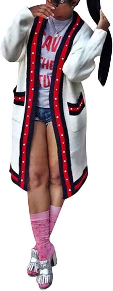 Womens Casual Solid Loose Fit Long Sleeve Open Front Cardigan Coat Outwear with Pockets White S