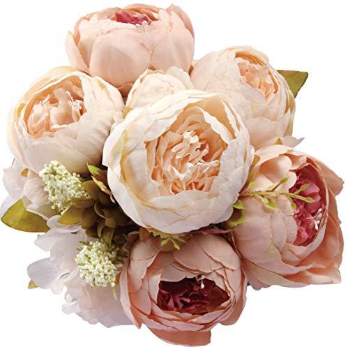 Amkun Falsche Blumen Vintage Künstlich Peony Seidenblumen Bukett Hochzeit Zuhause Dekoration, Packung 1 - Champagner