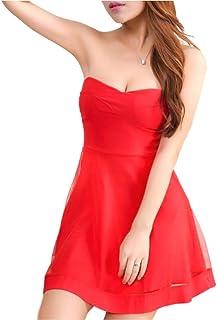 [オチビ] 結婚式 お呼ばれ 二次会 パーティー セクシー 肩出し サマー ドレス ミニスカ ワンピ 黒 赤