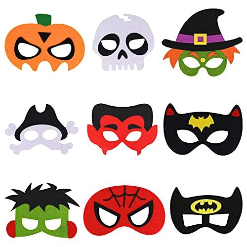 Gxhong Máscaras de Superhéroe, Máscaras de Spiderman, 9 Piezas Máscaras de Fieltro con Cuerda Elástica para Bolsas de Fiesta, Baile de Máscaras, Fiestas de Cumpleaños, Navidad, Halloween