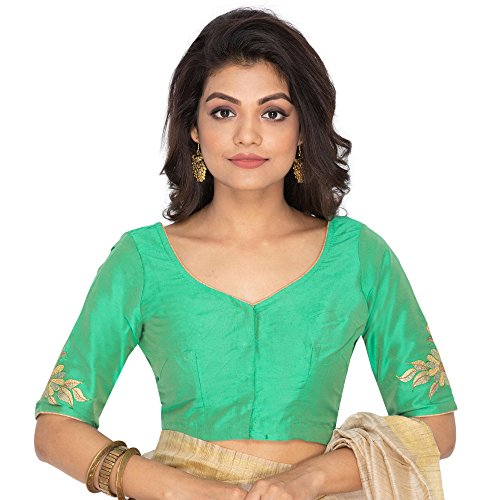 RENE Women's Cotton Silk Embroidered Blouse (Green, 34)