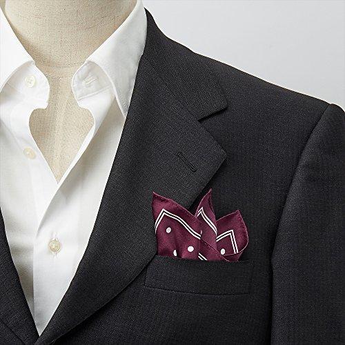 [オジエ]ozie【ポケットチーフchief】絹シルク100%・ドット柄・日本製・アンタイドやクールビズのきちんと感に/ワインレッド赤