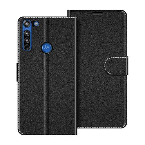 COODIO Handyhülle für Motorola Moto G8 Handy Hülle, Motorola Moto G8 Hülle Leder Handytasche für Motorola Moto G8 Klapphülle Tasche, Schwarz