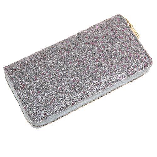 RIAH FASHION Rainbow Glitter Zip Around Wallet - Sparkly Confetti Single Zipper Clutch Purse with Card Slots (Confetti Glitter - Silver/Pink)
