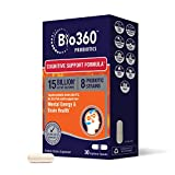 Bio360 Probiotics | Cognitive Support Formula | Brain Health & Mental Energy Probiotic for Women and Men | Vitamin-enriched | 30 Vegan Supplements