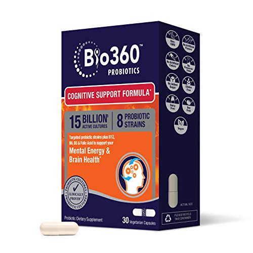 Bio360 Probiotics | Cognitive Support Formula | Brain Health & Mental Energy Probiotic for Women and Men | Vitamin-enriched | 30 Vegan Supplements