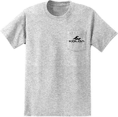 Koloa Surf(tm) Tall Pocket T-Shirts 2 Sided Wave Logo Tees-Ash/b-2XLT