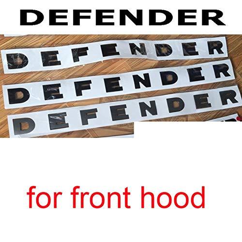 Buchstaben Emblem für Land Rover Defender Abzeichen Auto Styling Refitting Fronthaube und Unterer Kofferraum Aufkleber Glänzende Schwarze Kohlefaser, Front Defender, Mattes Silber