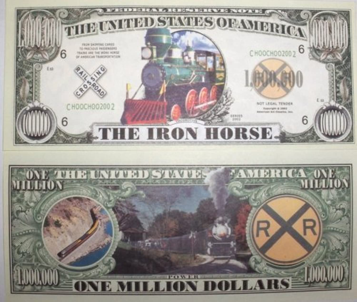 Set of 10 BillsThe Iron Horse Million Dollar Bill by Novelties Wholesale