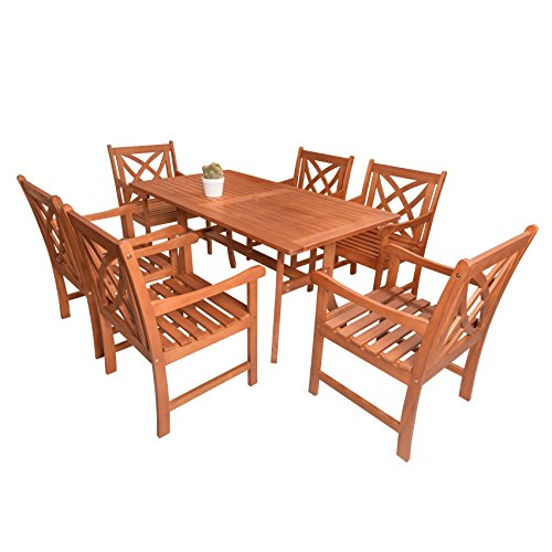 Vifah Malibu Eco-Friendly 7-Piece Wood Outdoor Dining Set - Brown