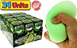 JA-RU Stress Ball Stretchy Squishy Glow in The Dark (24 Units) Squish Attack Stress Relief Toys for Kids and Adults. Squish Balls Anxiety or Sensory Fidget Toy. Plus 1 Bouncy Ball. 5566-24p