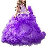 FRAUIT Abito Principessa Bambina Carnevale Vestiti Ragazze Cerimonia Lungo Vestito Ragazza Compleanno Abiti da Sera da Matrimonio Vintage Abito da Spettacolo Manica Corta Bambino
