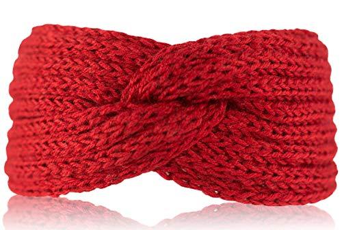 fashionchimp ® Uni-Stirnband für Damen, Winter Strick-Stirnband mit Knoten-Muster (Rot)