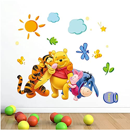 Cute Winnie The Pooh Bear Tiger Pegatinas De Pared Para Habitación De Niños Adesivo De Parede Dibujos Animados Kindergarten Pared Calcomanía Nursery Room Decor74 * 46cm