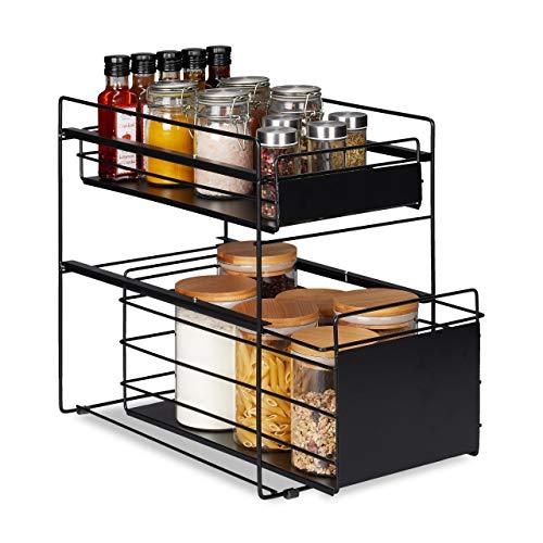 Relaxdays Estantería para cajones con 2 cestas, Organizador para Debajo del Armario, Cocina y baño, Cesta extraíble, Altura 39,5 x 25 x 40,5 cm, Negro, 5 cm