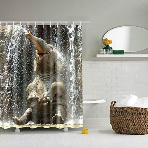AOMEISI Duschvorhang 180x200 Antischimmel Wasserdicht Stoff Holzoptik Badewanne Textil Waschbar Bad Vorhang Blumen Duschvorhang Mit ösen Elephant Nose Spray