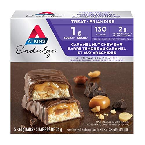 Atkins Endulge Bars - Caramel Nut Chew, 1g Sugar, Keto-Friendly, High Fibre - 5-Count