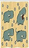 ABAKUHAUS Nilpferd Schmaler Duschvorhang, Comic Hippo Blumen Grungy, Badezimmer Deko Set aus Stoff mit Haken, 120 x 180 cm, Blaugrau Senf & Weiß
