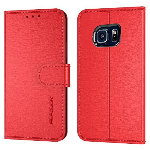 FMPCUON Handyhülle Kompatibel mit Samsung Galaxy S6 Edge Hülle Leder PU Leder Tasche,Flip Hülle Lederhülle Handyhülle Etui Handytasche Schutzhülle für Galaxy S6 Edge,Rot