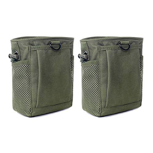 Tactical Molle Drawstring Magazine Dump Pouch, Adjustable Military Utility Belt Fanny Hip Holster Bag Outdoor Ammo Pouch (2 Pack-Army Green)