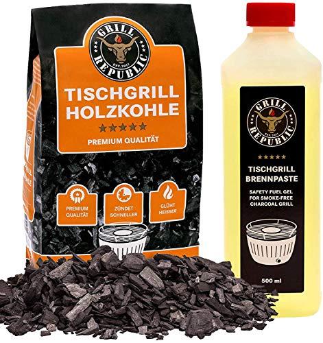 Grill Republic Tischgrill-Kohle 2,5kg & Brennpaste 500ml / 100% reine Buchenholzkohle für rauchfreie Tischgrills wie den Lotusgrill