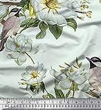 Soimoi Grüne Samt Stoff Blätter, Weiße Blumen & Vogel