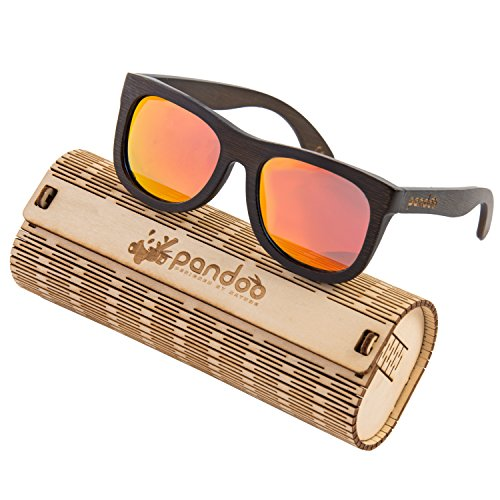 pandoo Bambus-Sonnenbrille mit Brillen-Etui, Schraubenzieher und Tasche - polarisiert & UV400 - Verspiegelte Gläser Orange & dunkler Bambus Rahmen - Holz/Damen/Herren/Unisex/Sport/UV-Schutz/polarized