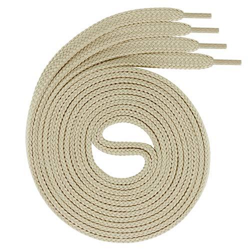 Swissly 1Paar Flache Schnürsenkel für Sneaker und Sportschuhe - sehr reißfest - ca. 7,0 mm breit aus 100% Polyester, Farbe: Light.beige Länge: 100cm