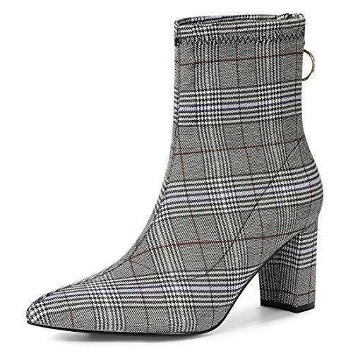 Allegra K Damen Pointed Toe Blockabsatz Ankel Boots Stiefel Schwarz Weiß 40