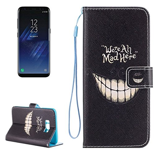 ILS - Galaxy S8 Smiling Teeth We are All Mad Here Pattern Funda protectora...