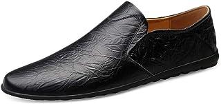 Ranipobo Loafer for Men Boat Moccasins Slip On Style OX Leather Low Top Lightweight for Men (Color : Black, Size : 7.5 UK)