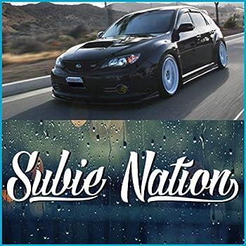 Byzee Subie Nation Windshield Decal | White 8  die Cut Vinyl car Bumper/Window Sticker | 6 Year Automotive Vinyl