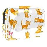 Bolsa de maquillaje portátil con cremallera bolsa de aseo de viaje para las mujeres práctico almacenamiento cosmético bolsa naranja Tabby Kitty