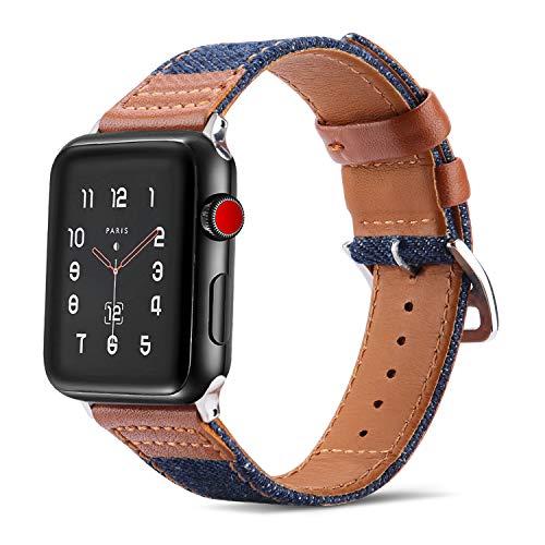 Tasikar para Correa Apple Watch 44mm 42mm Diseño Híbrido de Mezclilla de Cuero Genuino Correas de Repuesto Compatible con Apple Watch SE Series 6/5/4/3/2/1 (42mm 44mm, Marrón)