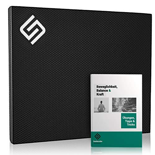 Seelenruhe Premium Balance Pad - Koordinationsmatte für Gleichgewicht, Fitness, Physiotherapie, Pilates, Yoga, Stabilität - Balancekissen aus TPE-Schaumstoff, 40x35x5cm (Schwarz)