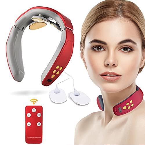 Masajeador cervical inteligente, masajeador cervical portátil, masajeador cervical de viaje eléctrico con 4 modos, dispositivo de masaje para espalda y nuca, masaje y relajación (Red-2)