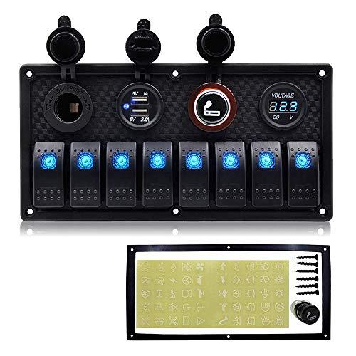 Marine Boat 8 Gang Toggle Rocker Switch Panel wasserdicht ON-OFF Zündschalter mit digitaler Spannungsanzeige 3.1A Double USB Ladegerät 12V Cigarette Lighter Sockel für Auto LKW Yacht