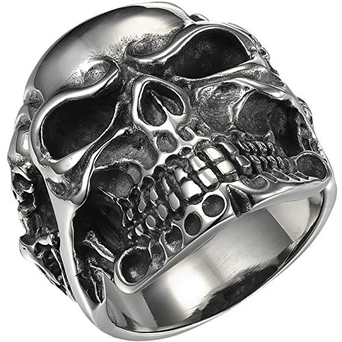 HooAMI Skull Bone Gothic Vintage Biker Stainless Steel Men's Ring ,Size 9-13 (Size 13)
