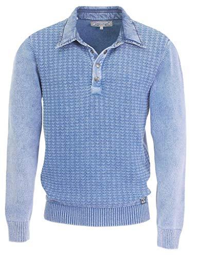 Piece of Blue Herren Polo Pullover Raute Indigo oder Sky wash 100% Baumwolle, exclusiver Strickpullover - Nachfolger von Blue Willis Gr.M, Gr.L, Gr.XL, Gr. XXL, Gr.XXXL, Größe:L, Farbe:Sky wash