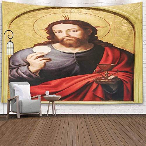 Wandteppich Wall Hanging Tapestry Spanien Juni-Gemälde, das Jesus Christus darstellt, der Brot-mittelalterliche Eucharistie hält Wanddeko für Kinderzimmer Wohnzimmer Schlafzimmer auch 59*59inch