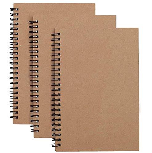 A5 Skizzenbuch mit Spiralbindung, 3er Packung Kraft Cover Blank Skizzenblock,100 Blatt / 50 Weiße Säurefreies Zeichenpapie Perfekt für Reisen(Braun)