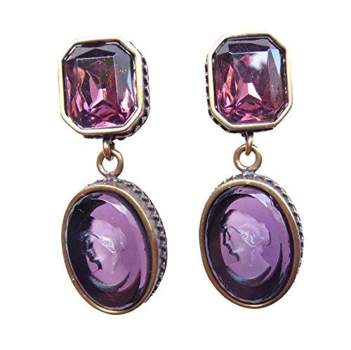 Attraente Orecchini a clip di Extasia con lilafarbenem pietra e vetro viola vetro gemme