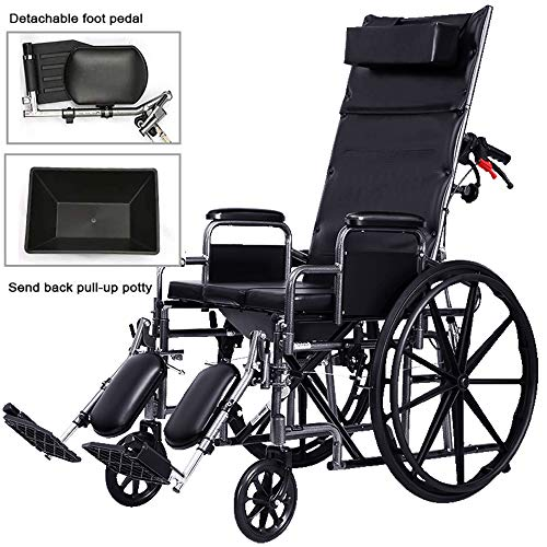 Wheelchair High Back Reclining Toilet Wheelchair, Ultra-Light Trolley, Paralyzed Patient Folding Bathroom Shower Chair, Bedside Toilet Seat Chair, Full Reclining Transport Chair Waterproof