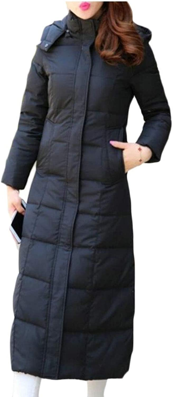 Keaac Women's Solid Long Jackets Warm Thicken Padded Hooded Coat