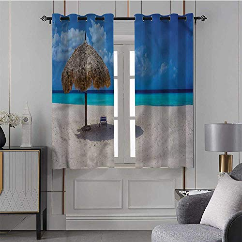 Youdeem-tablecloth Seaside, Blackout Curtain Panel Romantic Caribbean Beach Premium Room Divider, Set of 2 Panels (42 x 63 Inch)