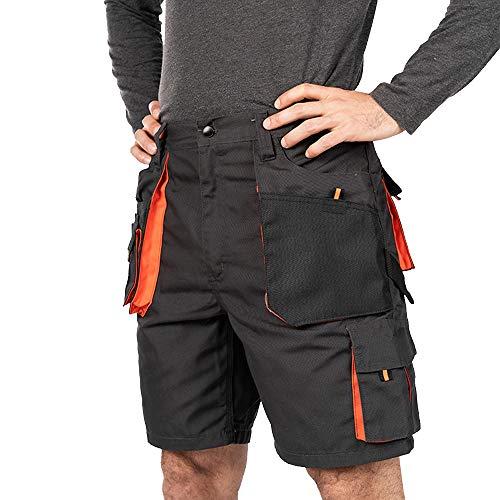 Shorts de Travail Homme, Cargo Shorts Hommes ete, Coton/Poly 260 GR, multipoche, Pantalon Cargo Homme, Grandes Tailles, Bermuda de Travail, Vetement ete ,Noir/Orange,S(46)