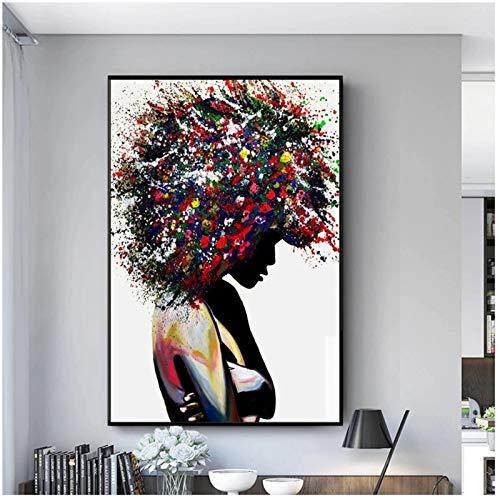 Graffiti Art Black Woman Dipinti su Tela sul Muro Poster e Stampe Donna Africana Wall Art Quadri Moderni per la casa 40x60cm (16x24in)