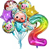 JJ-melon Balloons, 8 pcs Foil Balloons for 2nd Birthday Party supplies Decoration (2 years old)